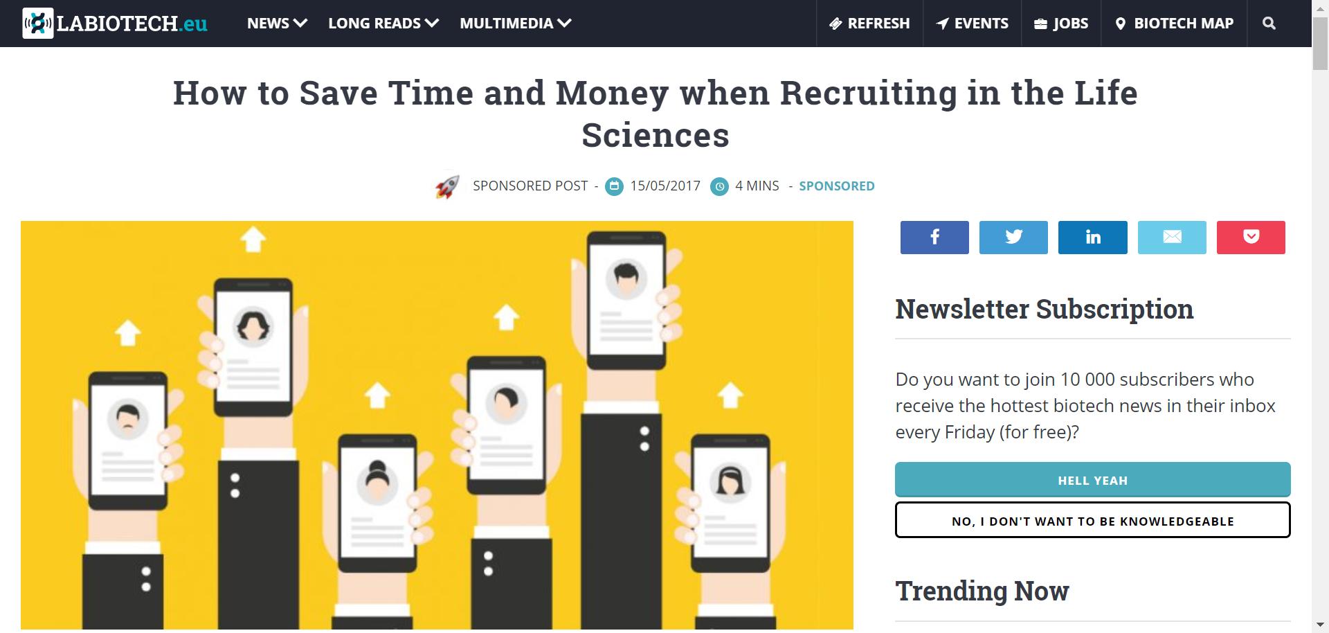Sabine comments on life sciences recruitment