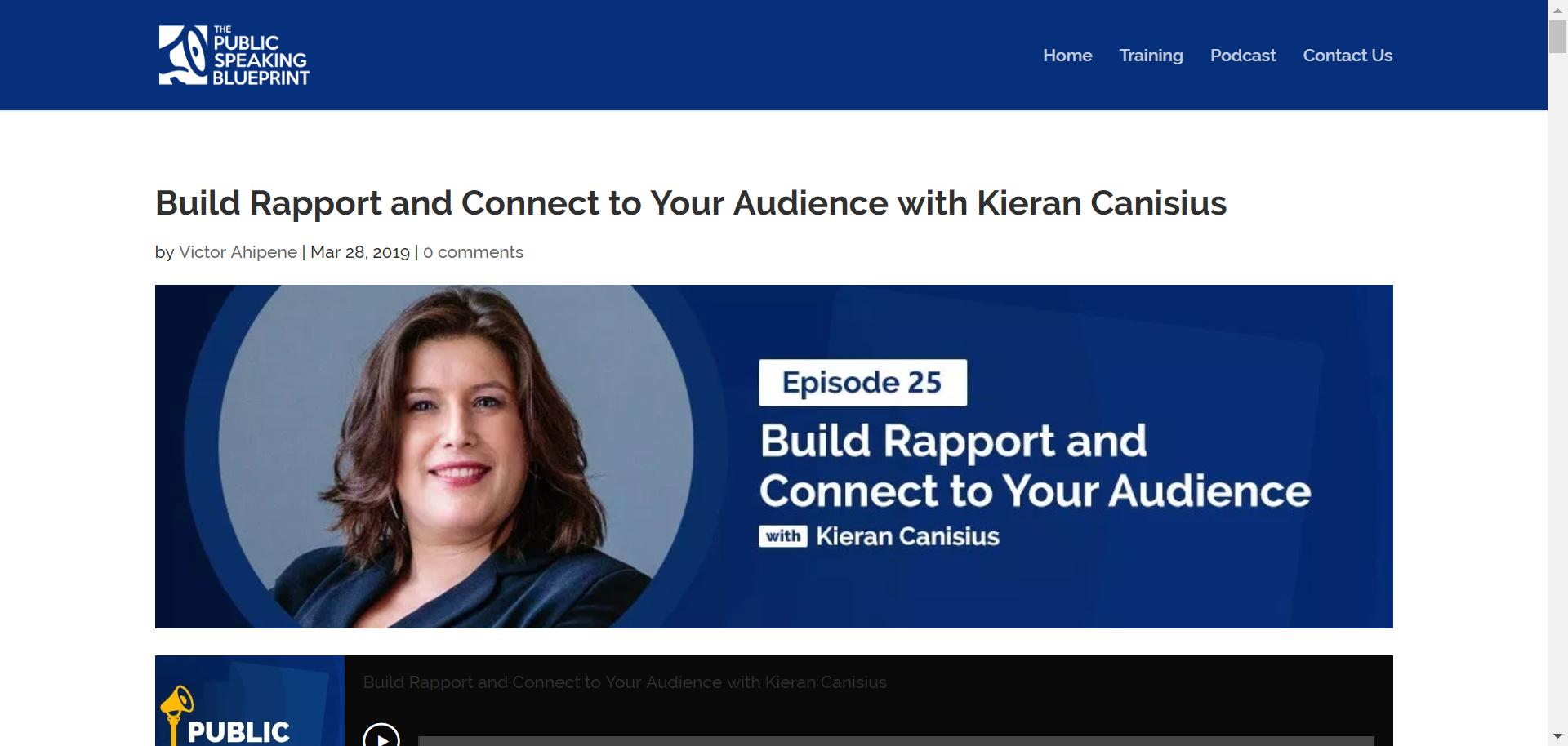 Kieran on Public Speaking Blueprint Podcast